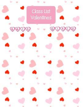 FREE Valentine Class List: Valentines Class, Free Valentines