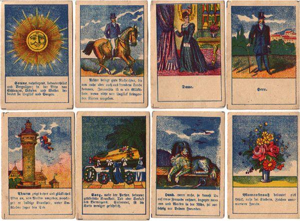 Lenormandkarten mit Orakelsprüchen vermutlich Ende des 19. Jahrhunderts erschienen Hersteller & Herkunft unbekannt