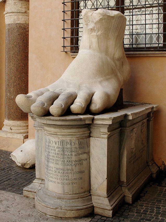 Emperor Constantine, left foot of (colossal) Roman statue (marble), 4th century AD, (Palazzo dei Conservatori, Rome).