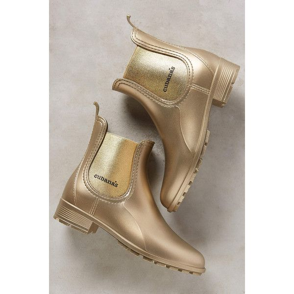 Cubanas Chelsea Rain Boots ($98) ❤ liked on Polyvore featuring shoes, boots, gold, wellies boots, rubber boots, wellies shoes, wellington boots and rain boots