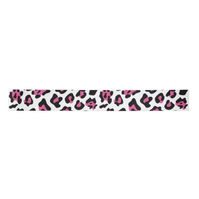 Hot Pink Black Leopard Animal Print Pattern Satin Ribbon Zazzle Com Animal Prints Pattern Print Patterns Animal Print