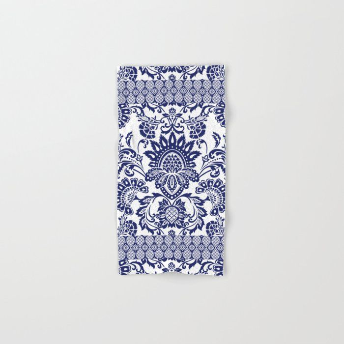 Buy Damask Blue And White Hand Bath Towel By Chiccabesso