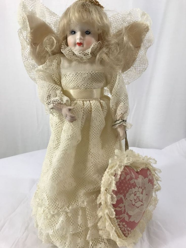 Vintage Porcelain Angel Christmas Tree Topper Shabby Cottage Chic  | eBay