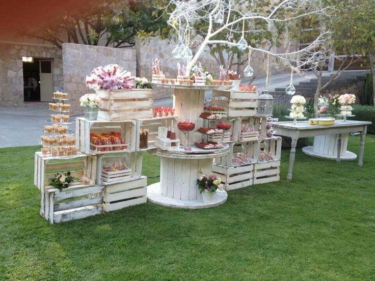 Rustic dessert decor. Wedding dessert table, wedding cake display