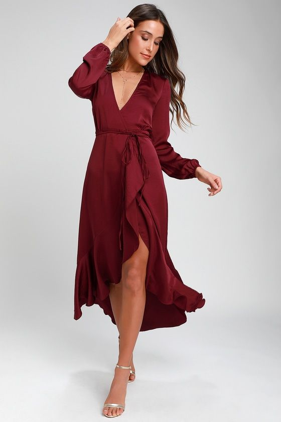 55a2566a45 Make a memorable entrance at your next fête in the WAYF Philicia Burgundy  Satin High-Low Wrap Dress! Shiny woven fabric creates a luxurious look as  it ...