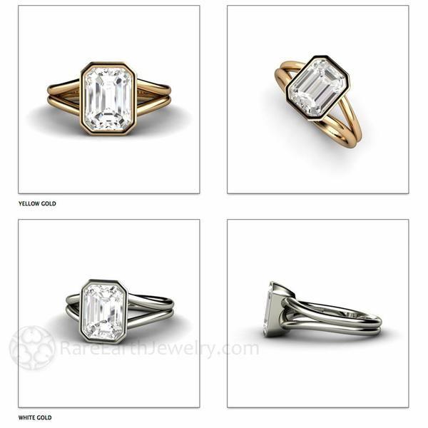 Rare Earth Jewelry - White Sapphire Solitaire Ring 14K or 18K Gold or Platinum Split Shank Bezel Setting Diamond Alternative Bridal Jewelry April Birthstone