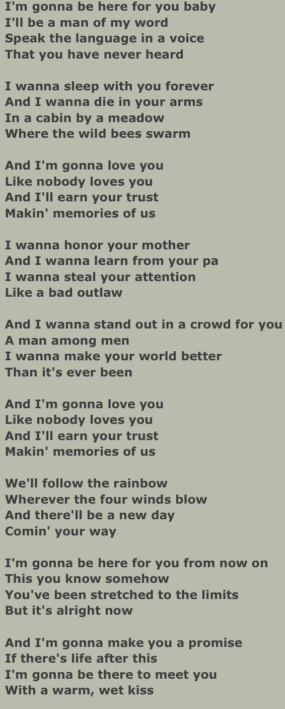"""Lyrics to: """"Making Memories of Us"""".              By: Keith Urban."""