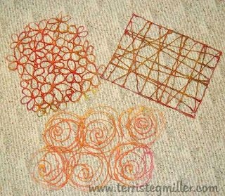 The next photo is of three hot glue stencils I had made some time ago. I like how these worked with the gelli plate and I will think about making some more of these. ~Terri Stegmiller