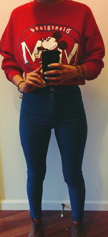 #ootd @frankvintage Disney crop top sweater, @topshop pants, @stevemadden boots | follow me on Twitter @ninamcauley