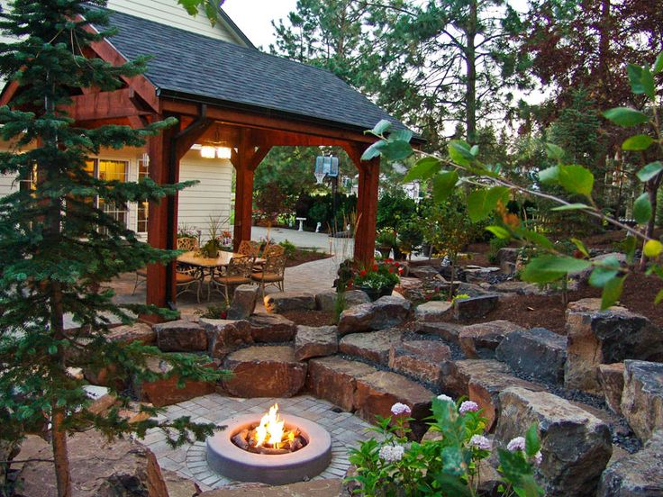 Back Yard Pavilion with Fireplace   Outdoor living environment and landscape design services offered in ...