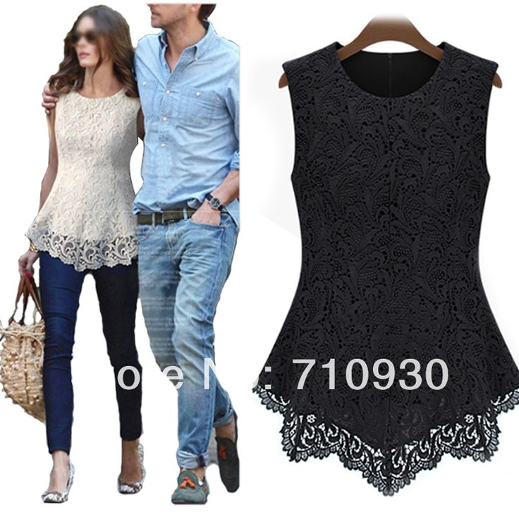 2014 Women Sleeveless Embroidery Lace Flared  Peplum Shirts Crochet Tops Tee T Shirt Slim Fit Top Blouses Size S M L XL XXL XXXL-in T-Shirts from Apparel & Accessories on Aliexpress.com | Alibaba Group