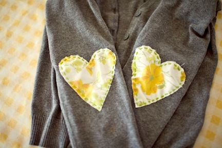 Refashion-a-sweater ~ sew hearts on the elbows