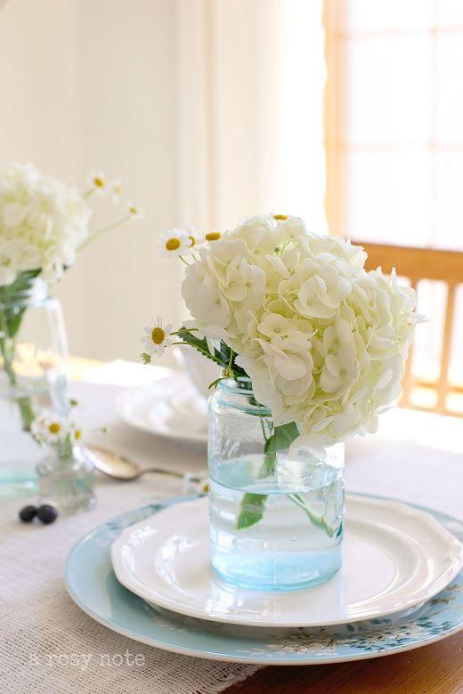 white hydrangea + blue mason jar. Swoon!
