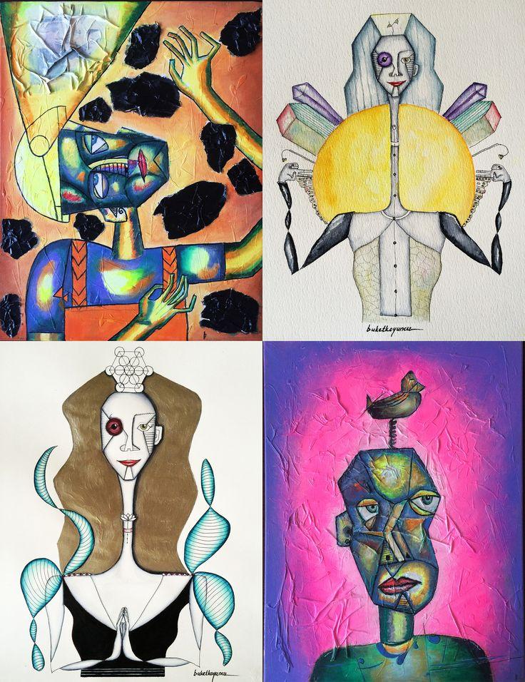 """""""Matematiğin, psikolojinin ve sanatın bir bütün oluşturduklarını düşünüyorum. Matematiği içselleştirmiş biri kutsal #geometri ile mutlaka kesişir. Kutsal geometri ile kesişen kişi ise derinleşip kendisine merak salar ve içsel yolculuğu keşfeder. Birey içsel yolculuğa çıktıysa muhakkak sanatın bir dalına varır. Bu döngü çizmiş olduğum karakterlerin çıkışıdır."""" - Buket Koyuncu"""