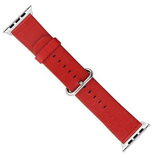 Japace® Leder Uhrenarmband Armband Watch Strap mit Adapter Zubehör für alle Versionen der 38 mm Apple Smartwatch iWatch - Rot - http://on-line-kaufen.de/japace/38mm-japace-leder-uhrenarmband-armband-watch-mit
