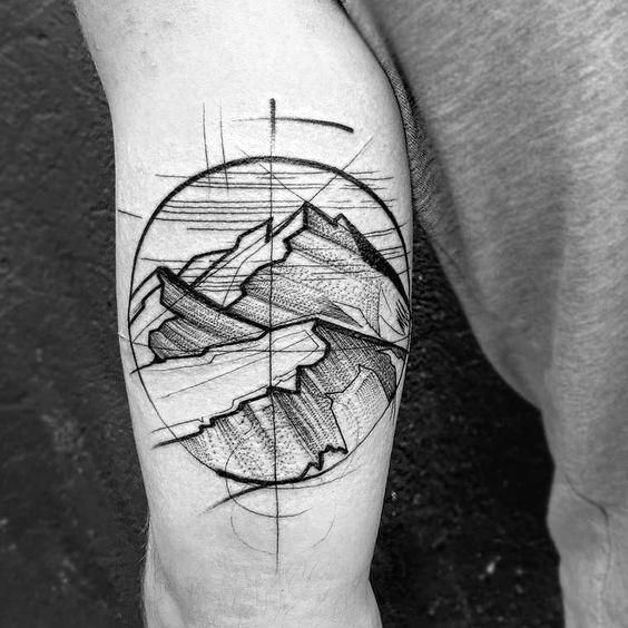 50 Geometric Mountain Tattoo Designs For Men – Geometry Ink Ideas
