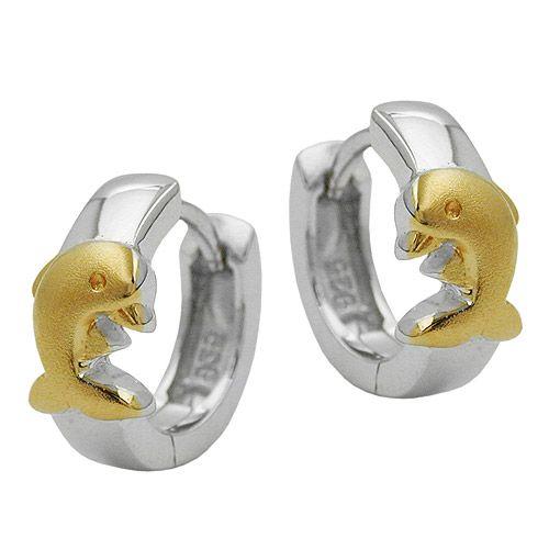 Örhängen Barn Delfiner Ringar Äkta Silver
