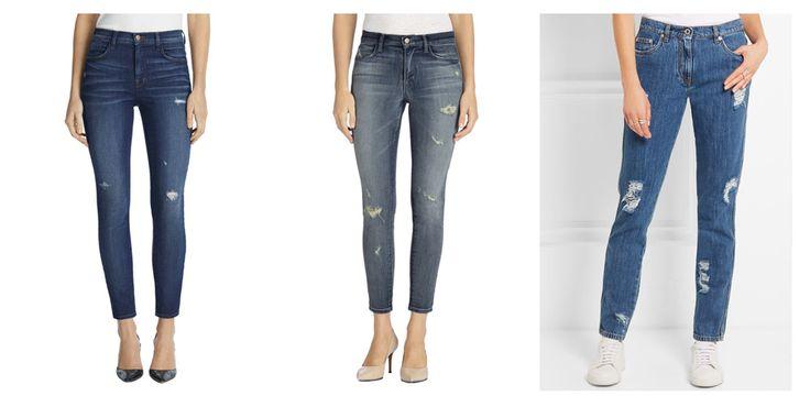 Рваные джинсы, с дырками, расположенными по вертикали