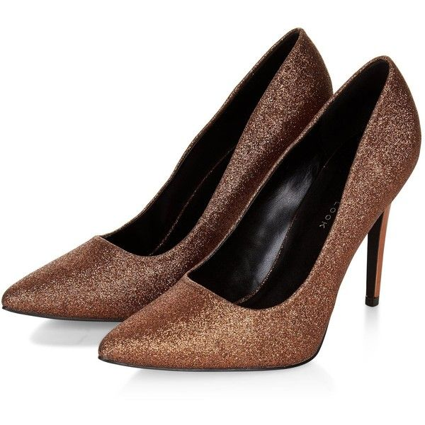 Wide Fit Bronze Glitter Pointed Court Shoes ($12) ❤ liked on Polyvore featuring shoes, pumps, wide width shoes, wide fit shoes, pointy shoes, glitter shoes and wide pumps