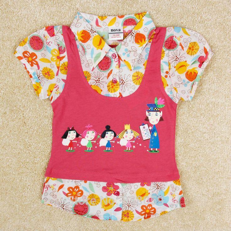 Новое лето дети одежда девушки блузка напечатаны цветок новорожденных девочек топы школа блузка для девочек детские рубашки с кнопки K4076