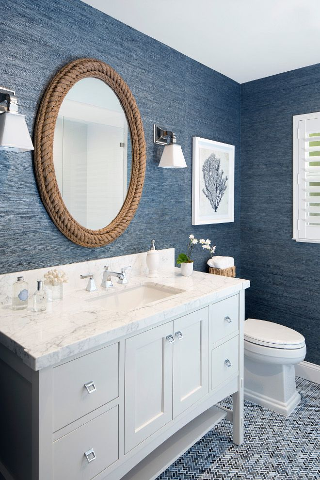 Wonderful The Highlight Of The Home: An Elegant Navy Blue And White Bathroom With  Oval Rope Mirror From Breakwater Bay. The Wall Has Beautiful Texture!