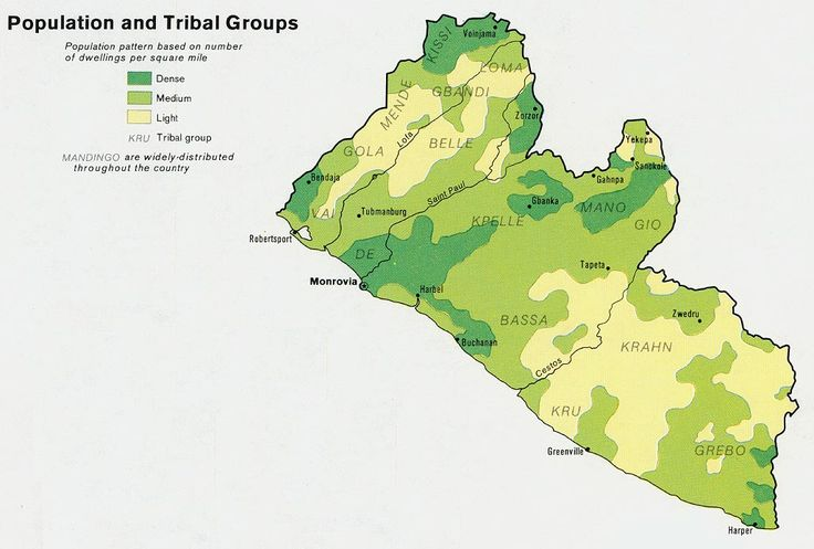 Liberia - Population and Tribal Groups 1973