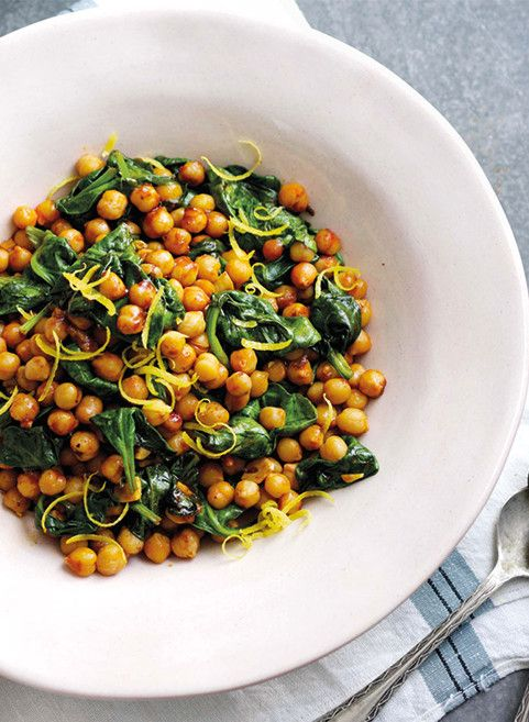 ... Chickpea and Spinach salad, spice with fiery harissa for an extra kick