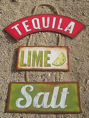TEQUILA-LIME-SALT-Margarita-Tiki-Beach-Bar-Wood-Cantina-Rope-Sign-Home-Decor-NEW