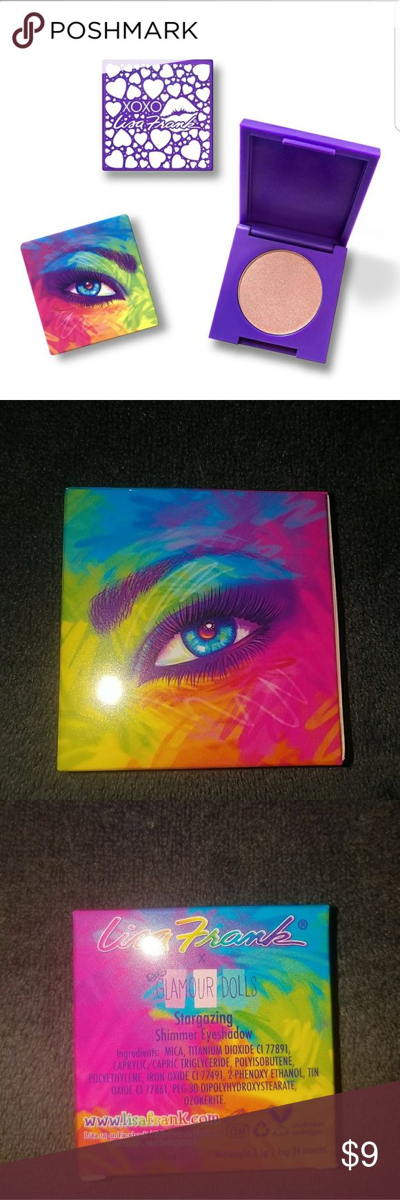 NIB Lisa Frank Eyeshadow Your childhood makeup dreams have come true with this collab between Lisa Frank and Glamour Dolls. This single eyeshadow in Stargazing is a shimmery copper color housed in purple plastic packaging covered in a Lisa Frank design. Little kid dreams turned into adult realities! It doesn't get much better than that!  *3.5 grams *Cruelty free *Vegan Lisa Frank Makeup Eyeshadow
