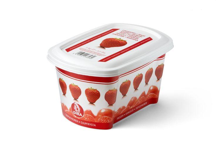 Kατεψυγμένος πουρές φράουλα της εταιρίας DIRA από την Granikal. #granikal #dira #frozenfruitpuree #πουρεςφρουτου