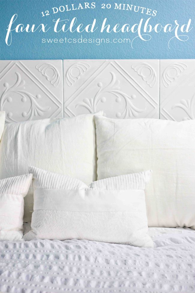Make a Faux Tiled Headboard- only $12 and 20 minutes! Perfect for renters or people that move a lot! #home #diy
