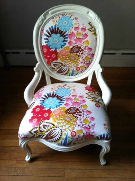 Absolutely love this fabric on this chair. (Anna Maria Horner - Loulouthi line - Summer Totem print, in Tart colorway)