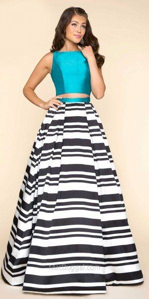 Two Piece Color Block Striped Evening Dress by Mac Duggal