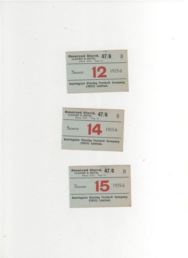 1925-26 ACCRINGTON STANLEY 3 season ticket stubs PEEL PARK RESERVED STAND | eBay
