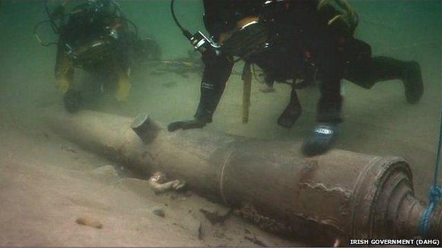 Uno de los cañones de 'La Juliana' en el lugar del naufragio.