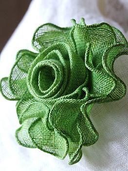 Brooch Rose Rainforest Green Linen