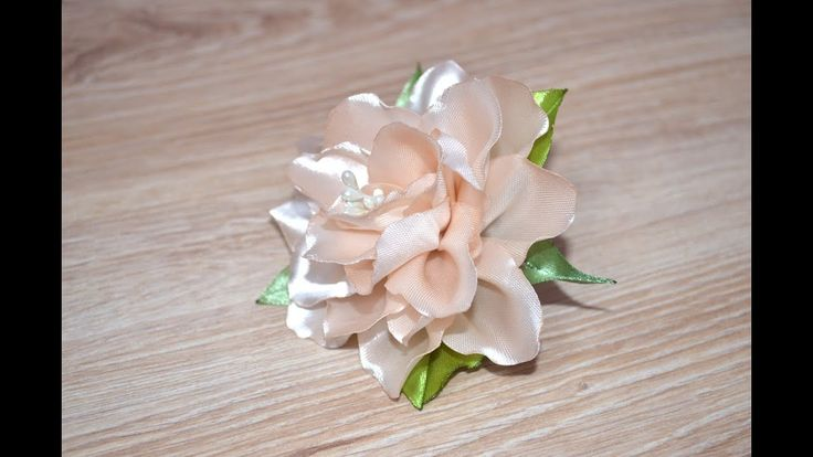 Лента резинка Цветок канзаши лилия бутон из атласной ленты DIY kanzashi ...
