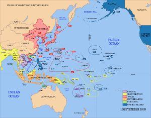 1941/45 - II GM -El ataque japonés no logró acabar con la Armada estadounidense en el Pacífico, aunque la debilitó. Japón logró conquistar Filipinas, Malasia, Birmania, las Indias Orientales Holandesas, Hong Kong y emprendió una ofensiva en el Océano Índico en 1942. El avance japonés se detuvo ese mismo año, luego de las derrotas en la batalla del Mar del Coral y la batalla de Midway, esta última con resultados desastrosos para Japón.