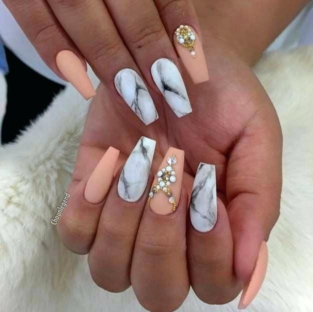 Peach Nails With Glitter Homecoming Nails Prom Nails Peach Nails
