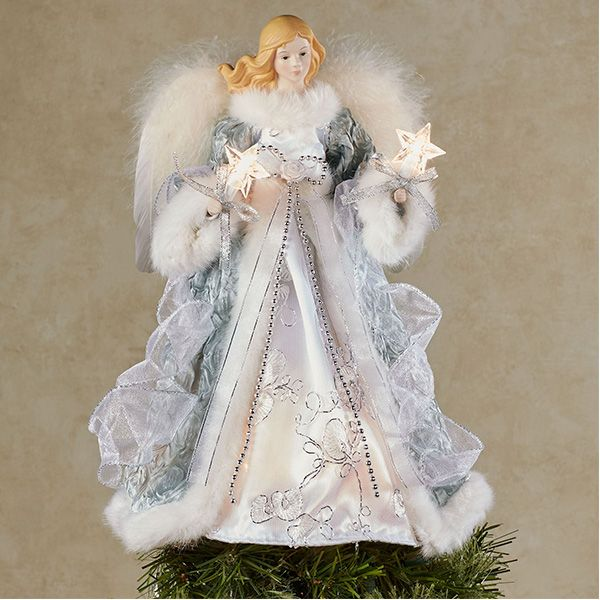 """New White /& Silver Tree Topper Angel With White Fur Wings 12/"""" 30cm"""