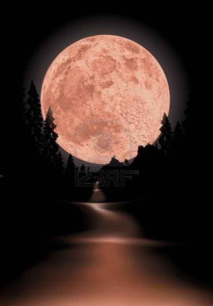 Glowing full moon.