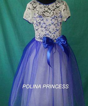 Детское нарядное синее кружевное платье на выпуск7436