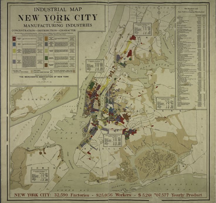 1922 map of manufacturers in New York