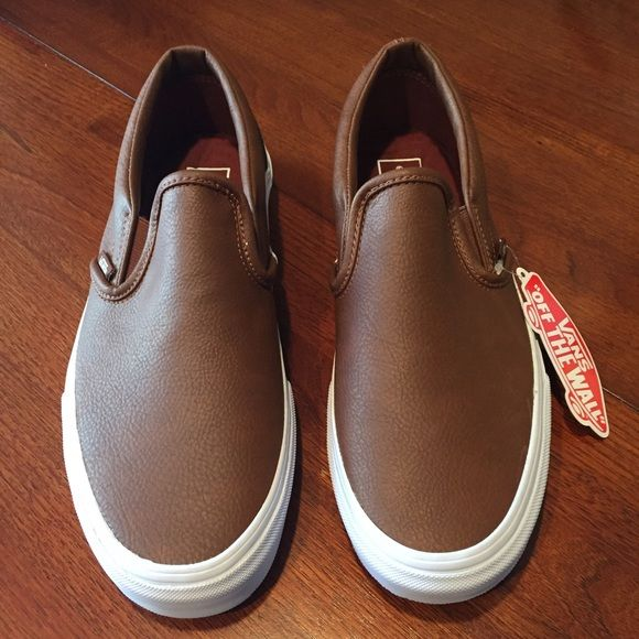 Vans NWT leather slip-ons Vans NWT leather slip-ons. Brand new no box. Brown leather with white sole. No trades. Vans Shoes Sneakers
