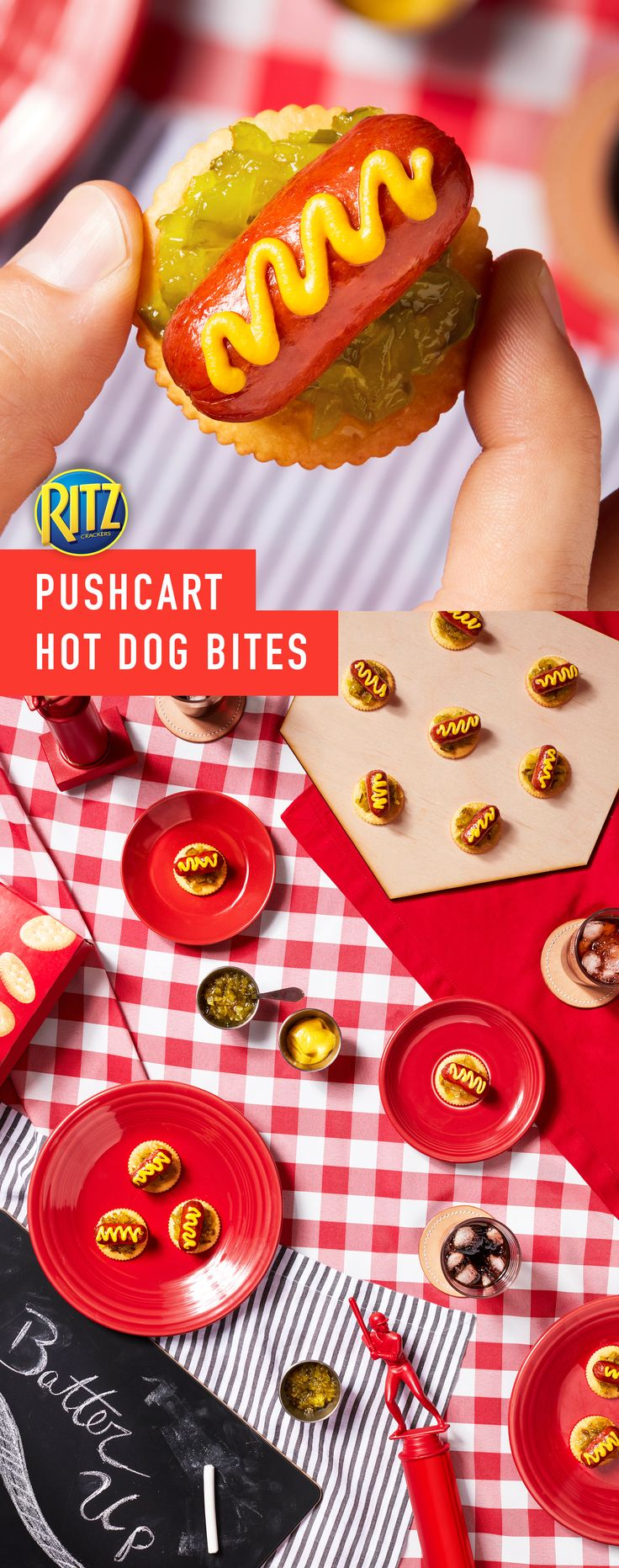 Nothing beats the beginning of a new baseball season! Celebrate spring baseball games with these delicious and simple Pushcart Hot Dog Bites! For your get-together, make a smoky, zesty appetizer that your friends and family can snack on anytime. Just follow these simple instructions: Place 12 franks cut sides down in single layer on microwaveable plate. Microwave on HIGH for 20 seconds. Top crackers with relish, frank pieces & mustard. You've got the stuff to make life rich.