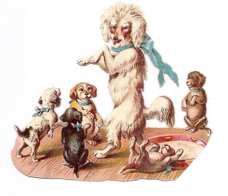 Les chiens danseurs - chiot   -  Chromo Decoupi  - Victorian Scrap