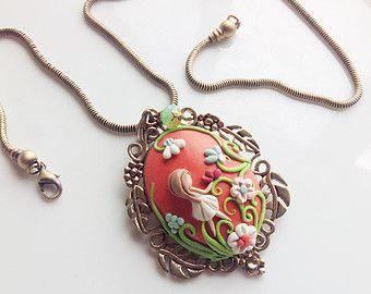 Victorian Style pendant, Polymer Clay Applique Pendant, Vintage look Pendant, Orange White and Blue, Polymer Clay Pendant,  Applique Pendant