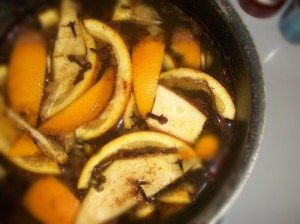 Don't throw away those orange peels! ~Simmer orange peels, cloves, and cinnamon sticks in pot of water on the stove to freshen the air naturally. For safety's sake, keep an eye on it and don't leave it boiling unattended on the stove.  ~Scatter orange peels in your vegetable or flower gardens to deter cats from using them as a litter box. Cats hate the smell of citrus and will stay away.