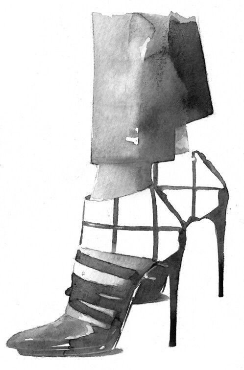Fashion illustration - watercolour shoe drawing // Balenciaga by Berto Martinez