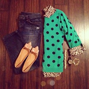 polka dot sweater, leopard button up and skinnies. I have a leopard shirt that I can't figure out how to wear... this might work!